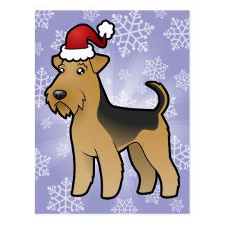 Christmas Airedale Terrier / Welsh Terrier Postcard