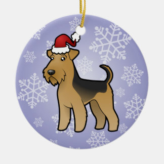Christmas Airedale Terrier / Welsh Terrier Round Ceramic Decoration