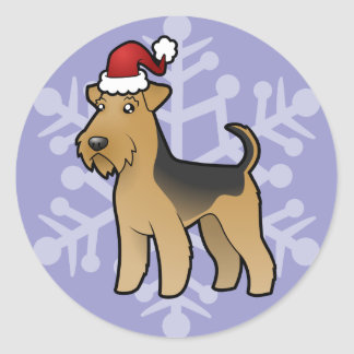 Christmas Airedale Terrier / Welsh Terrier Round Sticker