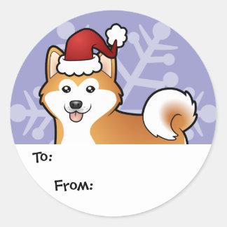 Christmas Akita Inu / Shiba Inu Classic Round Sticker