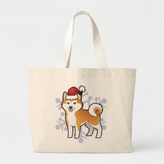 Christmas Akita Inu / Shiba Inu Large Tote Bag