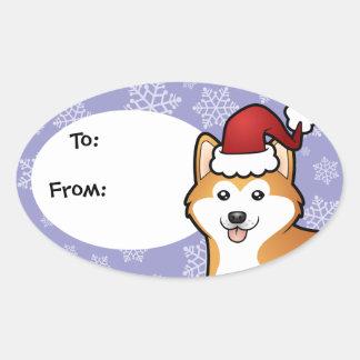 Christmas Akita Inu / Shiba Inu Oval Sticker