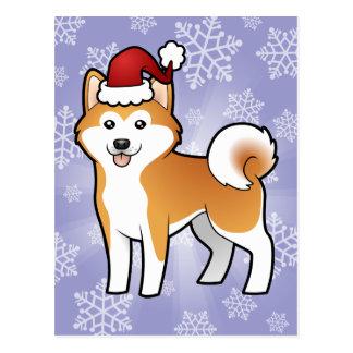 Christmas Akita Inu Shiba Inu Post Card