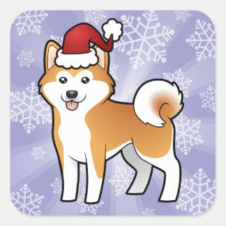 Christmas Akita Inu / Shiba Inu Square Sticker