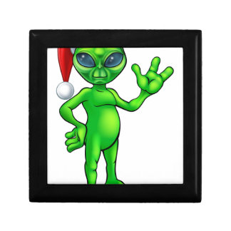 Christmas Alien in Santa Hat Gift Box