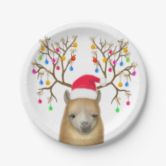 Christmas Alpaca Paper Plates 7 Inch Paper Plate