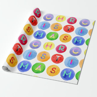 Christmas alphabet watercolor pattern gift wrap