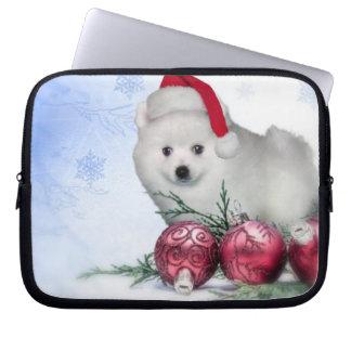 Christmas American Eskimo dog Computer Sleeves