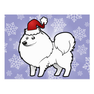 Christmas American Eskimo Dog / German Spitz Postcard