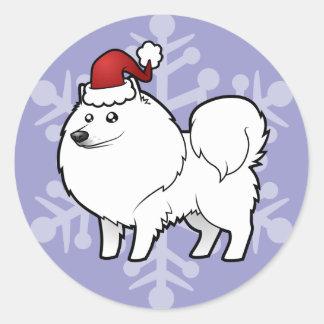 Christmas American Eskimo Dog / German Spitz Round Sticker