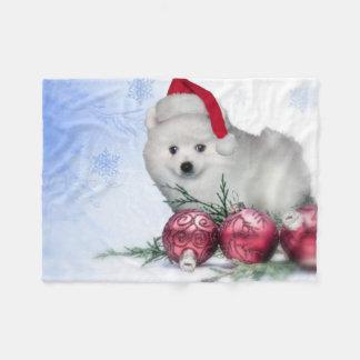 Christmas American Eskimo puppy Fleece Blanket