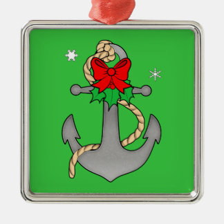 Christmas Anchor with Mistletoe and Red Bow Christmas Ornament