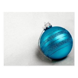 Christmas and Hanukkah Blue Holiday Ornament Postcard