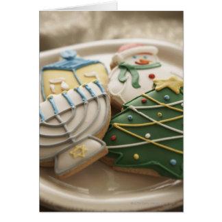 Christmas and Hanukkah cookies on plate, Card