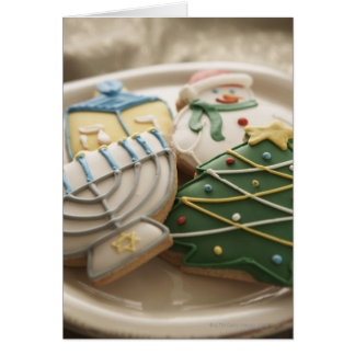 Christmas and Hanukkah cookies on plate, Greeting Card