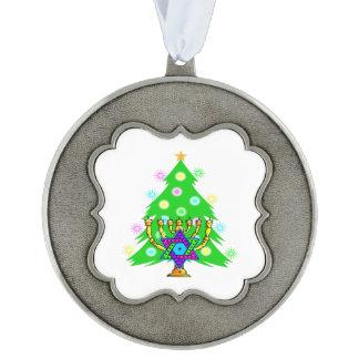 Christmas and Hanukkah Interfaith Scalloped Pewter Ornament