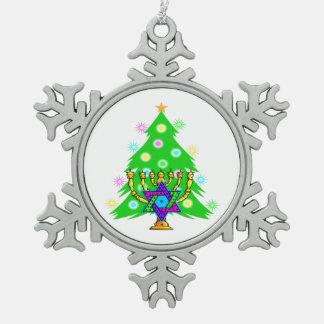 Christmas and Hanukkah Interfaith Snowflake Pewter Christmas Ornament