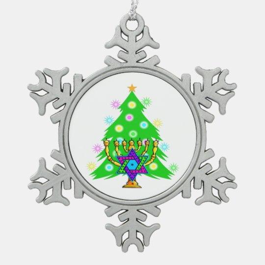 Christmas and Hanukkah Interfaith Snowflake Pewter Christmas
