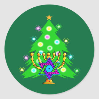 Christmas and Hanukkah Together Round Sticker