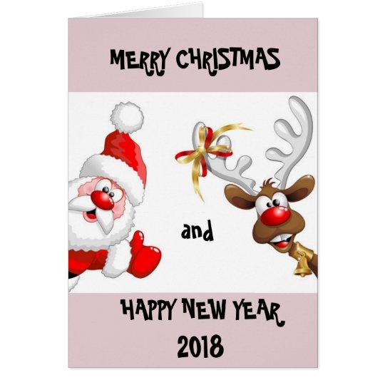 Christmas and New Year 2018 card (santa &