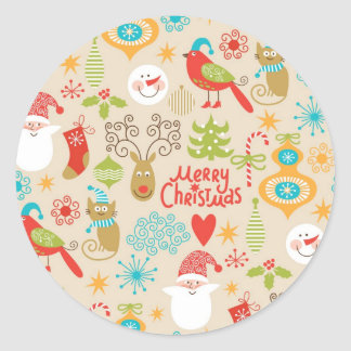 Christmas and New Year Round Sticker