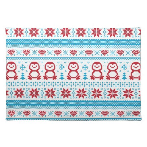 Christmas and Winter knitted pattern Placemat Zazzle