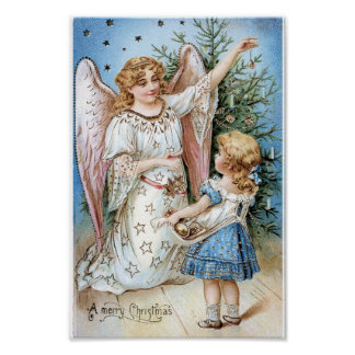 Christmas Angel and Child Poster