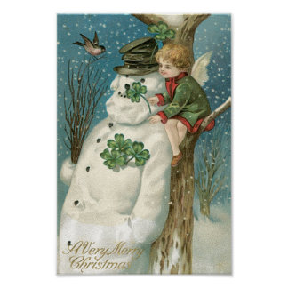 Christmas Angel and Snowman Poster