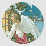 Christmas Angel at the Window Round Stickers