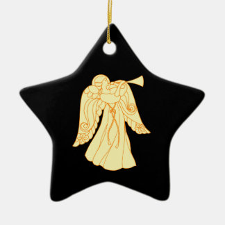 Christmas Angel Blowing Trumpet Ceramic Star Decoration