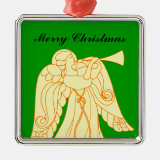 Christmas Angel Blowing Trumpet Silver-Colored Square Decoration
