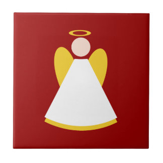 Christmas Angel Christmas Red Gold White Small Square Tile
