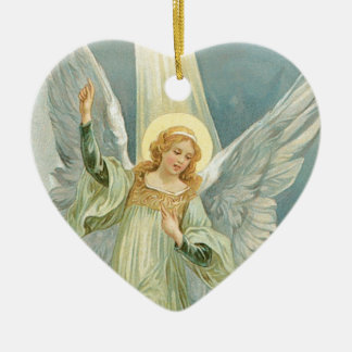 Christmas Angel Double-Sided Heart Ceramic Christmas Ornament