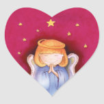 Christmas angel heart red sticker