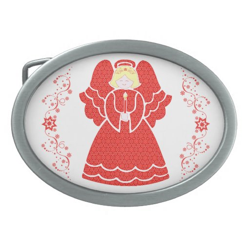 Christmas Angel In Red Lace Oval Belt Buckles