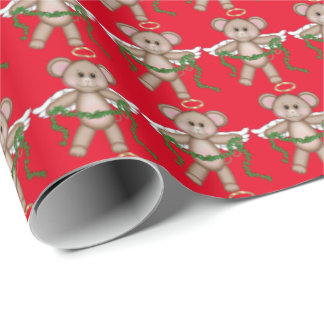 Christmas Angel Mice Holiday wrapping paper