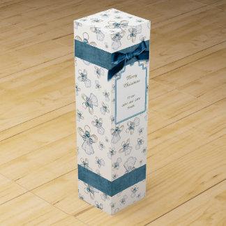 Christmas Angel of Faith Blue Holiday Pattern Wine Box