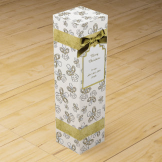 Christmas Angel of Joy Gold Holiday Pattern Wine Bottle Boxes