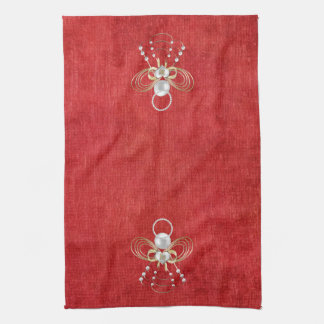 Christmas Angel of Joy - Red Tea Towel