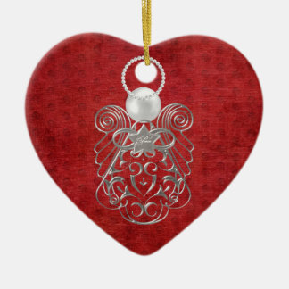 Christmas Angel of Peace on Red Textured Chenille Christmas Ornament