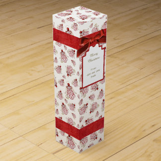Christmas Angel of Song Red Holiday Pattern Wine Box