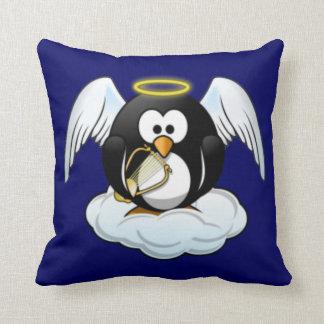 Christmas Angel Penguin Throw Pillow