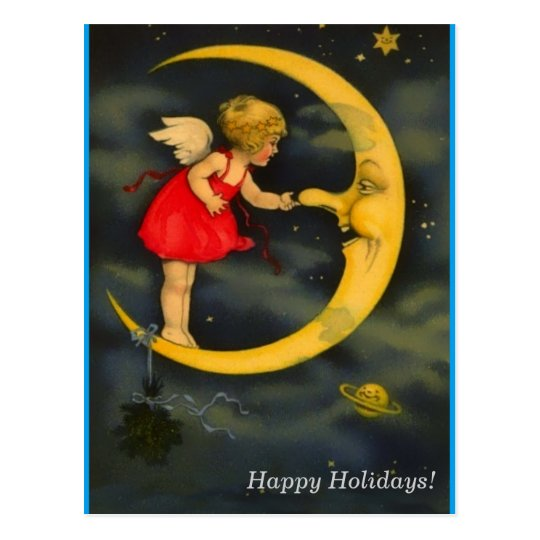 Christmas Angel Pinching Man in the Moon Nose