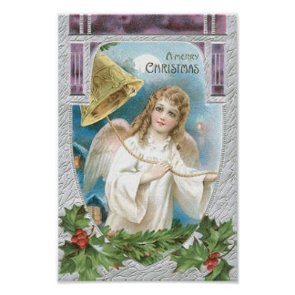 Christmas Angel ringing a bell Posters