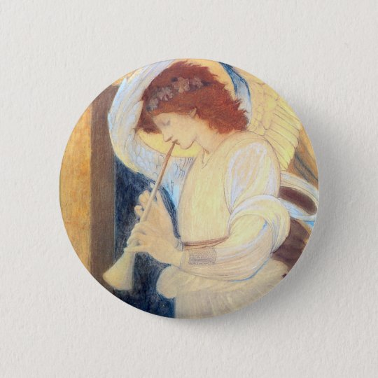 Christmas Angel Round Button Pin - Burne-Jones