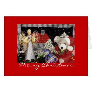 Christmas Angel, Teddy Bear, Christmas Greeting Card