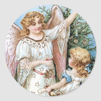 Christmas Angel with Child Round Sticker