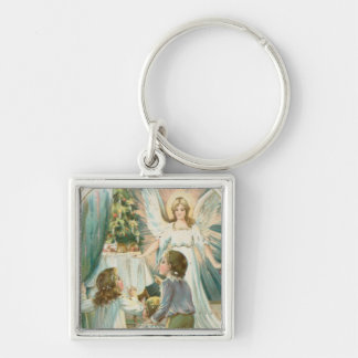 Christmas Angel with Children Silver-Colored Square Key Ring