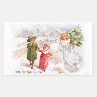 Christmas Angel with Children Rectangular Sticker