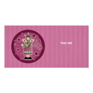 Christmas angel with Christmas tree Customised Photo Card